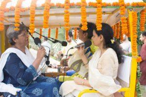 Gurudeva's blessed name is sung as...