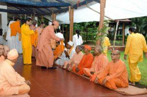YSS swamis welcome sadhus during bhandara, Ranchi.