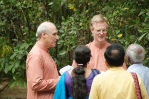 Swamis Premeshwarananda and Govindananda meet devotees.