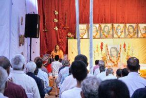 Swami Vasudevananda leads commemorative meditation, Dwarahat.