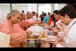 Monks serve a special meal after Kriya Diksha ceremony.