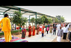 Brahmachari Kedarananda leads Energization Exercises, Bellary.