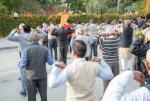 Brahmachari Chaitanyananda leads Energization Exercises, Chandigarh.