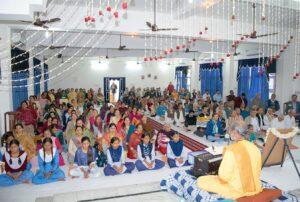Brahmachari Achyutananda leads chanting and meditation, Jammu.