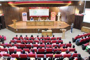 Swami Lalitananda delivers a talk on Guruji's teachings at Punjab national Bank, Delhi.