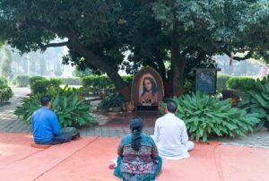 Devotees meditate below Litchi Vedi…