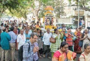 devotees join in Prabhat Feri.