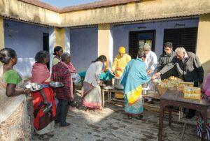Celebrations at Ranchi start with feeding at leprosy colony.