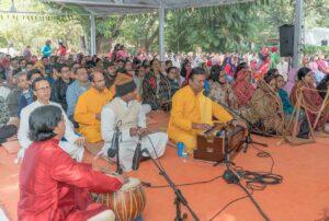Chanting Guruji's sacred name.