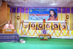 Swami Madhavananda leads prayer, Bhimavaram.