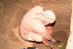 Swami Vishwananda lay bricks from Guruji's Ranchi ashram room in the foundation.