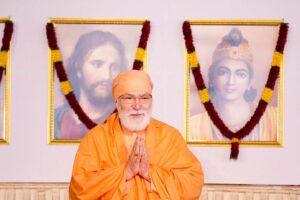 Swami Vishwananda greets devotees.