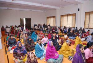 Group meditation, Agra.
