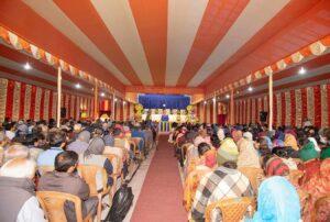 Devotees attending a talk.