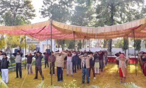 Devotees practise group Energization Exercises, Jammu.