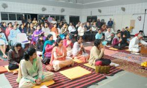 Devotees join in chanting, Nashik.