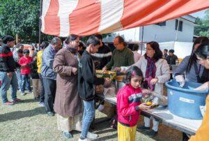 More than 10,000 devotees and general public partake prasad.