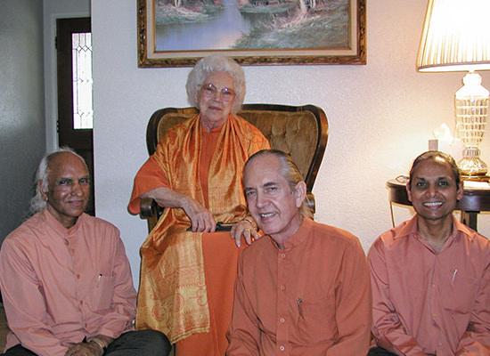 Swamis Krishnananda, Bhavananda and Smaranananda with Sri Sri Daya Mata