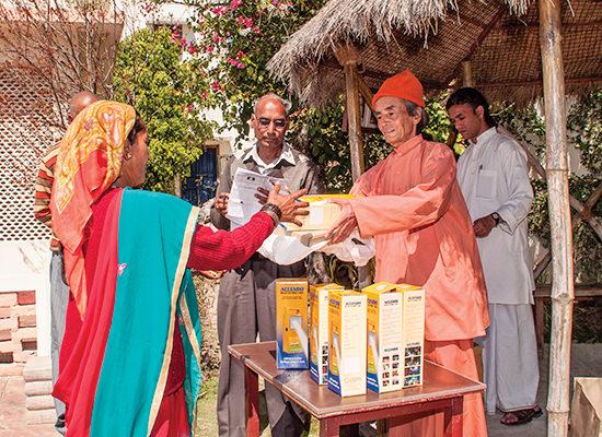 Charitable activity at Dwarahat ashram.