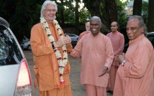 Swami Chidanandaji YSS/SRF president and spiritual head arrives at YSS Ranchi ashram.