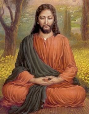 Jesus Christ meditating.