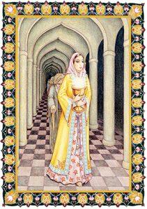A man behind woman (depicting worldly desires).