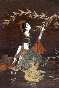 A women with swan near lake