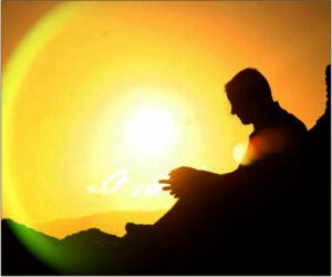 Man under healing rays of Sun