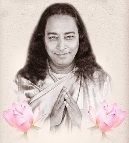 Paramahansaji praying with lotus on sides.