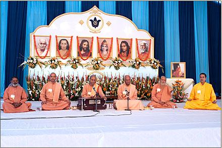 Sannyasis praying and chanting.