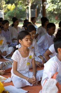 Children meditating.