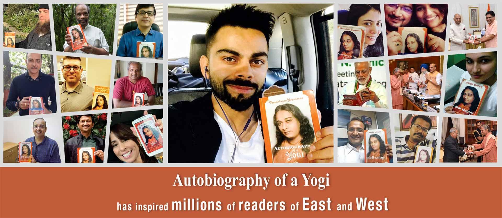 Virat Kohli, Narendra Modi, Ram Nath Kovind, Ravi Shastri and others holding the book Autobiography of a Yogi.
