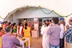 Swami lalitananda inaugurates the Kitchen pandal.
