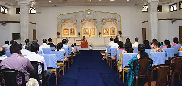 Class on Yogananda's teachings in Dhyana Mandir.